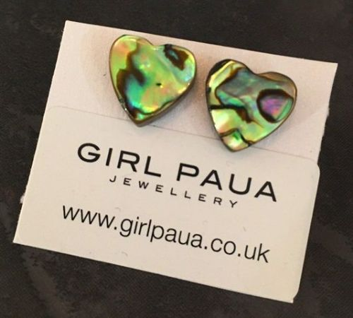 Paua Stud Earrings PE04 Heart Natural
